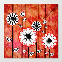 Retro Flowers on textured red Canvas Print