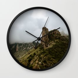 Foggy Mountaintop at Lost Mine Trail, Big Bend - Panoramic Wall Clock
