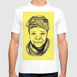 Maya Angelou - (yellow) Sketch to Digital T-shirt