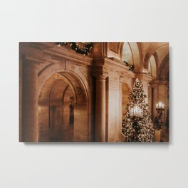Christmas in New York; The Public Library - 3 | Colourful Travel Photography | New York City, America (USA) Metal Print