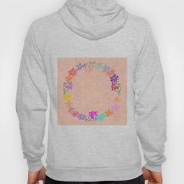 Wreath from abstract flowers with background Hoody