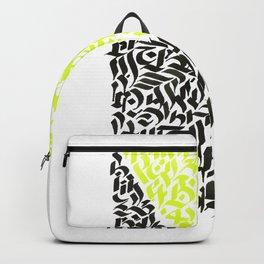 black and yellow calligraffiti pattern Backpack