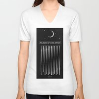 calendar V-neck T-shirts featuring 2015 Moon Calendar by Nick Wiinikka