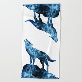 Howling Wolf blue sparkly smoke silhouette Beach Towel