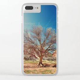 Sun desert tree Clear iPhone Case