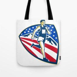 American Marathon Runner Running Retro Tote Bag