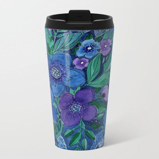 Watercolor . Blue flowers . Metal Travel Mug