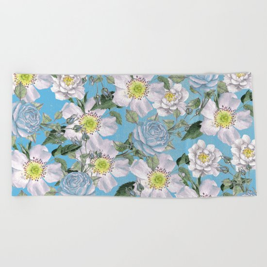 Vintage Rose Pattern Blue Beach Towel