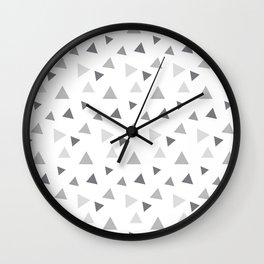 Modern geometrical pastel gray white triangles pattern Wall Clock