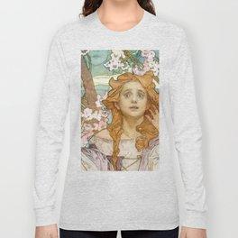 """Alphonse Mucha """"Maude Adams (1872–1953) as Joan of Arc"""" Long Sleeve T-shirt"""