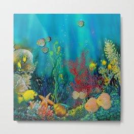 Undersea Art With Coral Metal Print