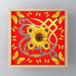 SUNFLOWER RED MODERN ART YELLOW BUTTERFLIES ABSTRACT Framed Mini Art Print