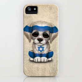 Cute Puppy Dog with flag of Israel iPhone Case