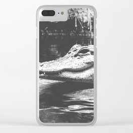 American Alligator Black and White Photography Clear iPhone Case