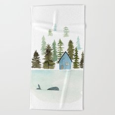I see a whale! Beach Towel