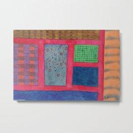 Different Elements between a Scarlet Grid Metal Print