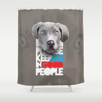gladiator Shower Curtains featuring DOG by karakalemustadi