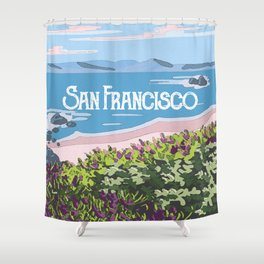 San Francisco, California Beach Succulents Illustration Shower Curtain