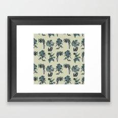 Botanical Florals   Vintage Dark Blue Framed Art Print
