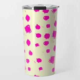 Hot Pink Spots on Yellow Travel Mug