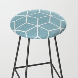 Light Blue and White - Geometric Textured Cube Design Bar Stool
