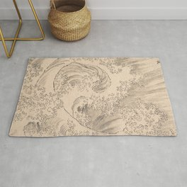 Wave by Katsushika Hokusai 1760–1849, Japanese Rug