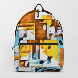 yellow brown and blue Backpack
