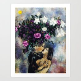 Lovers Under Calla Lilies & Flowers by Marc Chagall Art Print