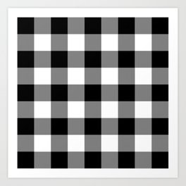 Black and White Buffalo Plaid Art Print
