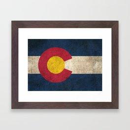 Old and Worn Distressed Vintage Flag of Colorado Framed Art Print