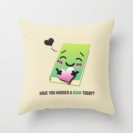 Book Emoji Love Throw Pillow