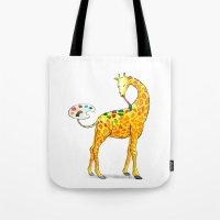 giraffe Tote Bags featuring Giraffe by gunberk