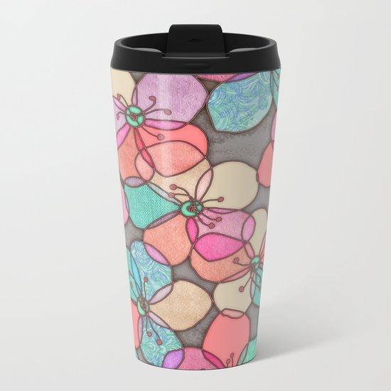It's Always Summer Somewhere - bright poppy floral Metal Travel Mug