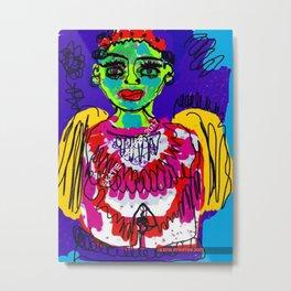 Green Face Angel Digital Drawing Metal Print