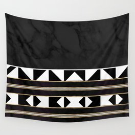 Black and White Marble Tile Abstract Wall Tapestry