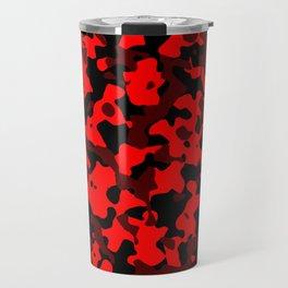 Camouflage Black and Red Travel Mug