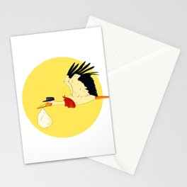 Stork delivering a baby Stationery Cards