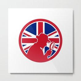 British Private Investigator Union Jack Flag Icon Metal Print