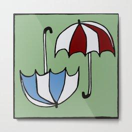 Umbrellas Two Ways Metal Print