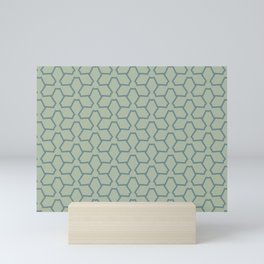 Blue-Green Line Pattern 12 Abstract Flower 2 2021 Color of the Year Aegean Teal and Salisbury Green Mini Art Print