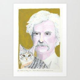 Mark Twain and cat companion Art Print