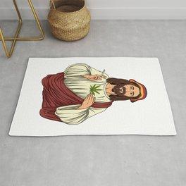 Weed Smoking Jesus Christ - Cannabis Stoner THC Rug