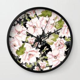Pink Peony Floral on Geometric Black Print Wall Clock