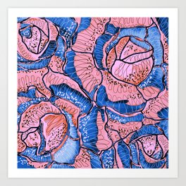 Blush Blue Roses Flowers Abstract Illustration Art Print