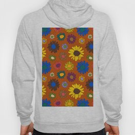 Funky Fall Harvest Floral in Terracotta Rust Hoody