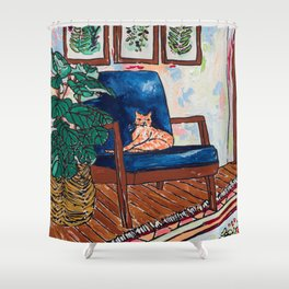Ginger Cat on Blue Mid Century Chair Painting Shower Curtain