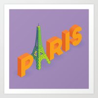 a is for eiffel Art Print