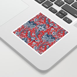Red White & Blue Floral Paisley Sticker
