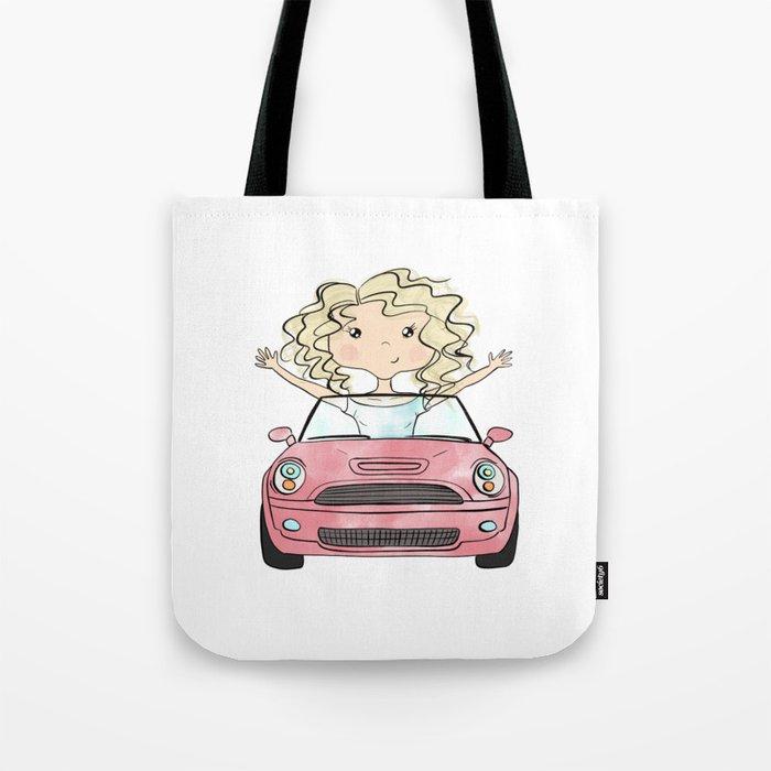 Girl Driving A Car Tote Bag