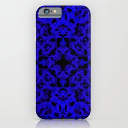 Complex ornament of blue spots and velvet blots on black. iPhone Case
